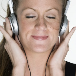 Woman Listening to Headphones